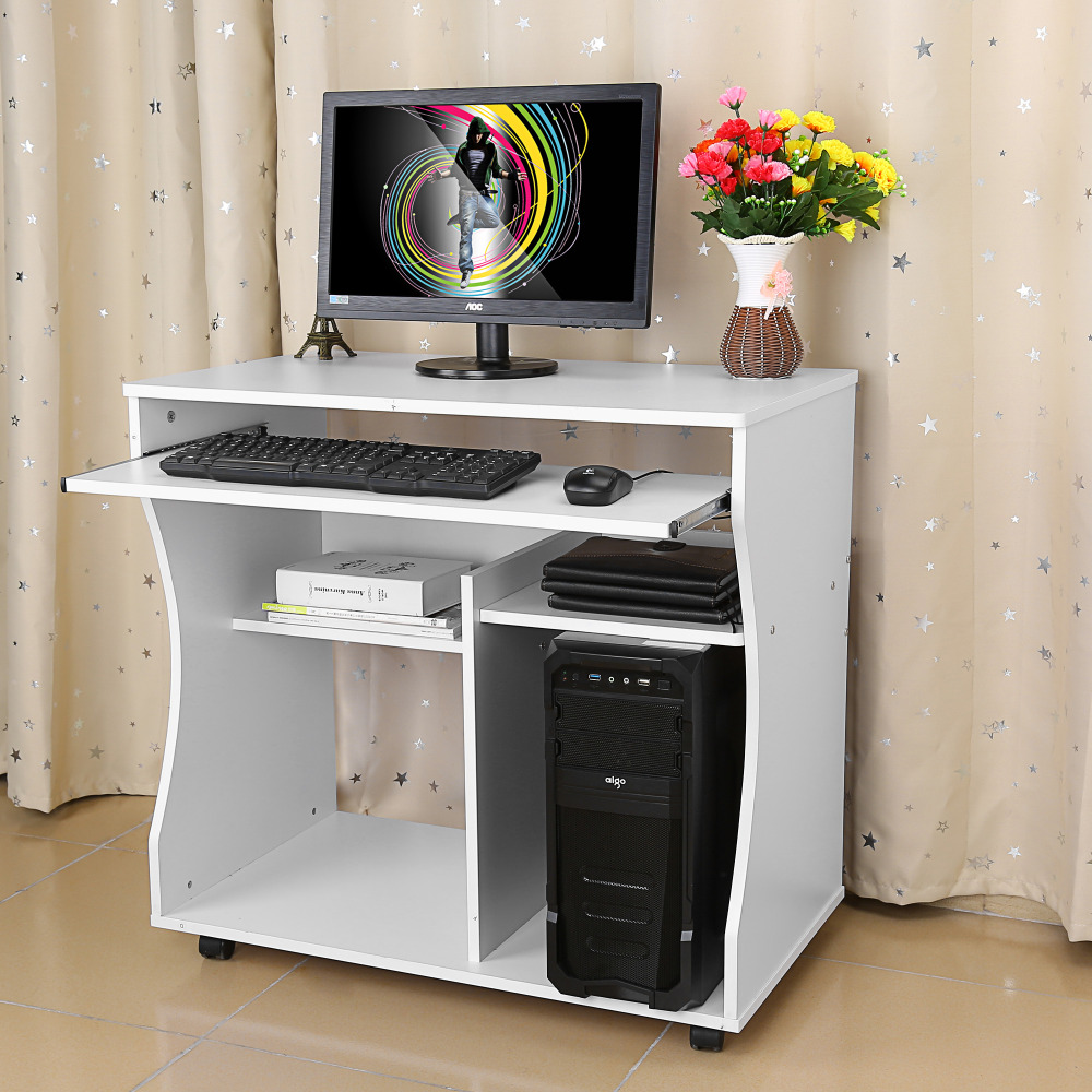 Home Office Desk Corner Computer PC Writing Table WorkStation Wooden & Metal Simple Style
