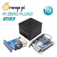 Orange Pi Zero Plus 2 H3 Set 4: OPI Zero Plus 2 H3+Protective Case+Expansion Board, A Development Board beyond Raspberry