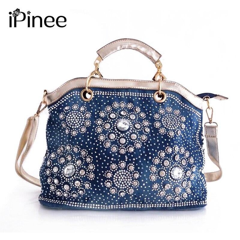 iPinee Luxury Handbags Designer Brand Ladies Shoulder Bag Casual Tote Bag Fashion Denim Women Bags