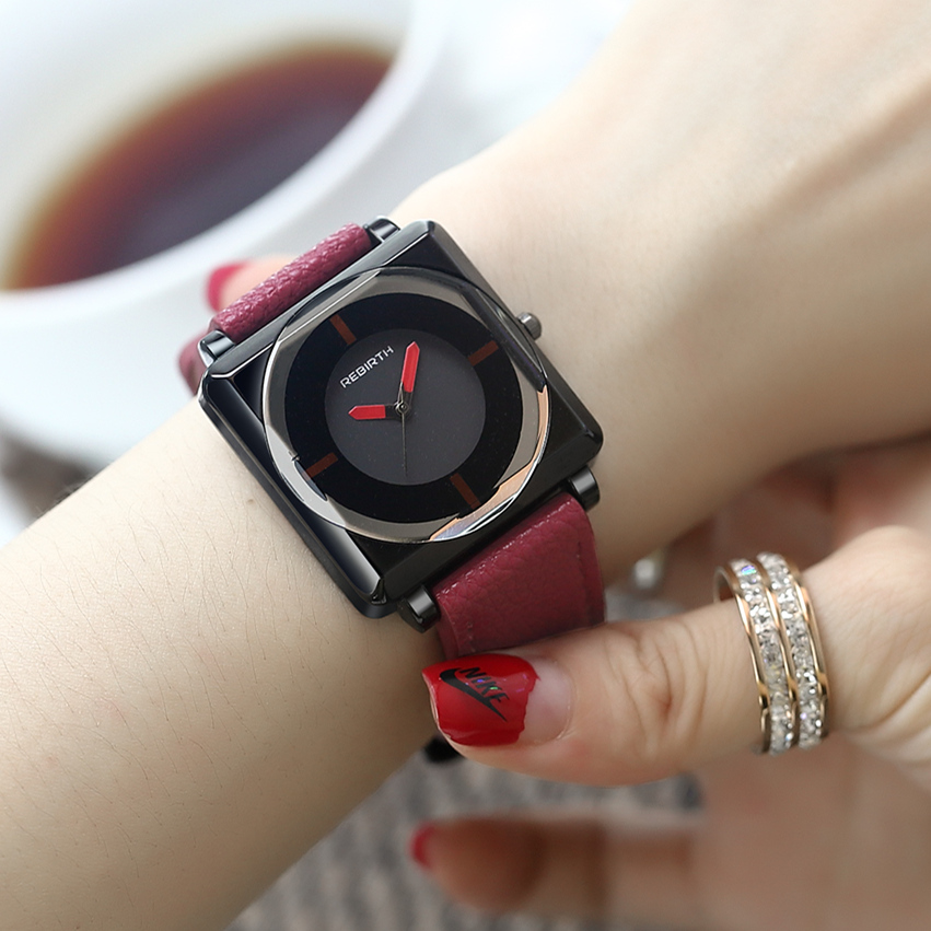 Creative Watches Women Leather Square Wrist Watch For Female Clock 2018 Women Watch Top Brand Luxury Waterproof Relogio Feminino