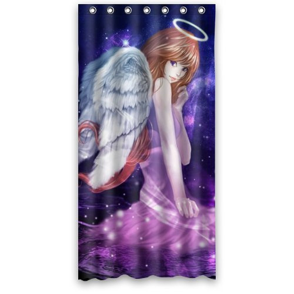 36wX72h Inches Anime Dreamy Beautiful Angel Girl Polyester Waterproof Fabric Shower Curtain SRings Included