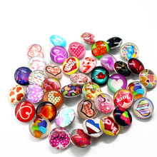Hot selling 10pcs/lot pretty LOVE heart Snap Buttons Charms 18mm Glass Fit DIY Bracelets&Bangle Jewelry