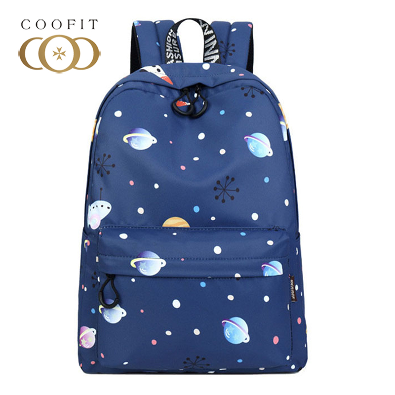 Coofit Blue School Backpack For Girls Teenager Mochila Fashion Planet Kawaii Snowflak Printed Women Backpacks Female Rucksacks sencart waterproof 12w 900lm 9500k 300 smd 3528 led cool white light strip white dc 12v 5m