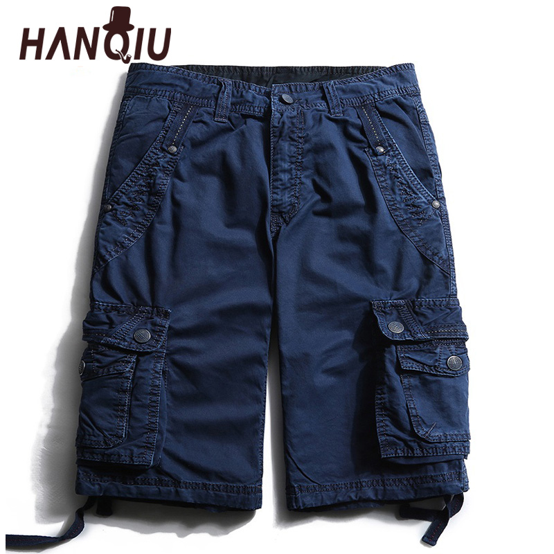 HANQIU 2020 Summer New Arrival Cargo Short Men Pure Cotton Solid Mid-Waist High Quality Casual Plus Size Multi-pocket Men Shorts