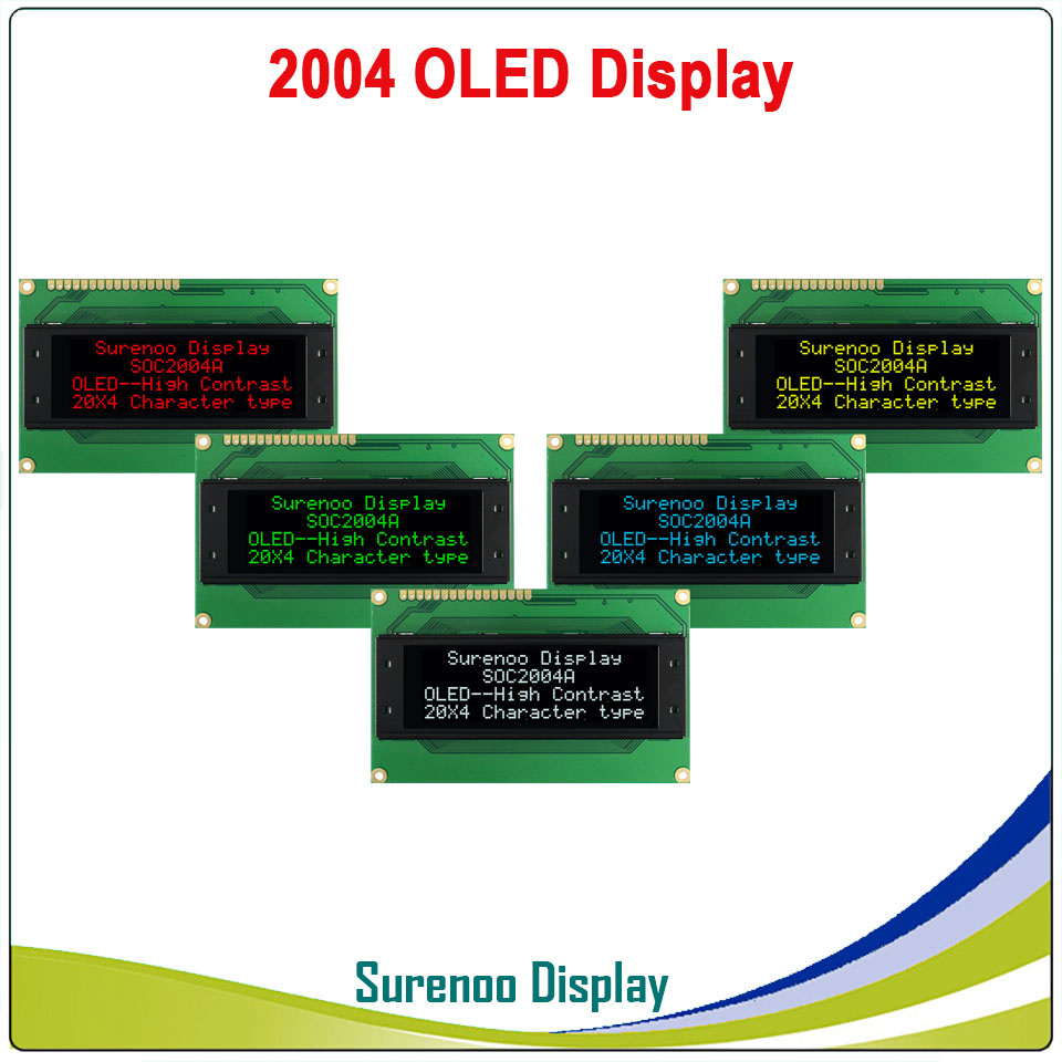 Real OLED Display, Military Level 2004 204 20*4 Character LCD Module Screen LCM Build-in WS0010, Support Serial SPI