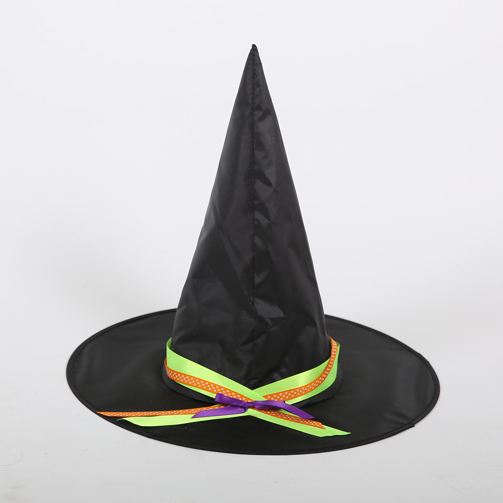 Adult Womens Black Witch Hat For Halloween Costume Accessory Cap Solid Novelty
