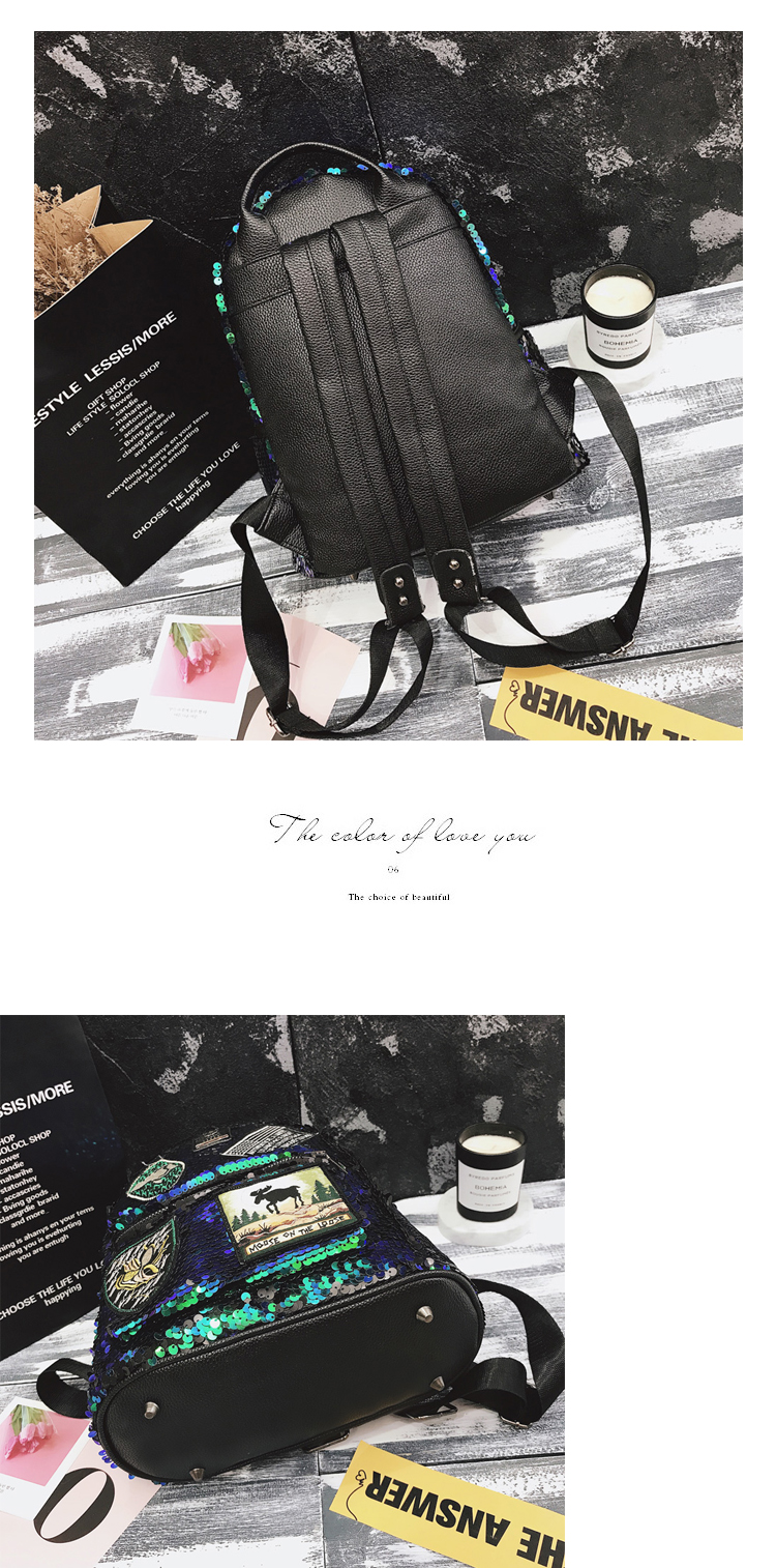 Sequin Backpack Korean version 2018 New Personality Badge Fashion Backpack Wild Casual 21