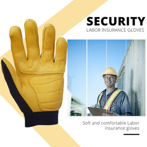Image 2 - OZERO Mens Work Gloves Deerskin Leather Driver Security Protection Wear Safety Workers Working Racing Moto Gloves For Men 8003