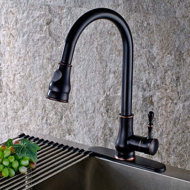 Retro Design Hot Cold Water Mixer Sink Tap Single Handle Chrome Brush Nickel Black Kitchen Faucet Pull Out Kitchen Tap classic pull out kitchen mixer tap of single handle single hole kitchen faucet with hot cold solid brass kitchen sink water tap