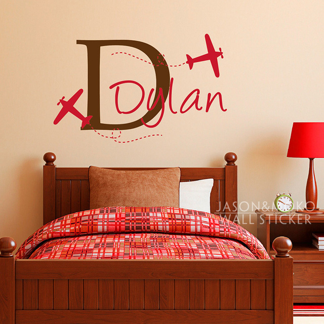 Boys Name Wall Decal with Planes - Airplane Decal with Initial - Personalized Boy Wall Sticker & Boys Name Wall Decal with Planes Airplane Decal with Initial ...
