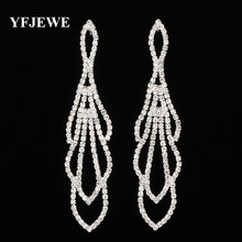 YFJEWE New Crystal Rhinestone Best Gift for Bridal Wedding Jewelry Gold and  Silver Plated Crystal Long Earrings for Women E424 99f029ca5008