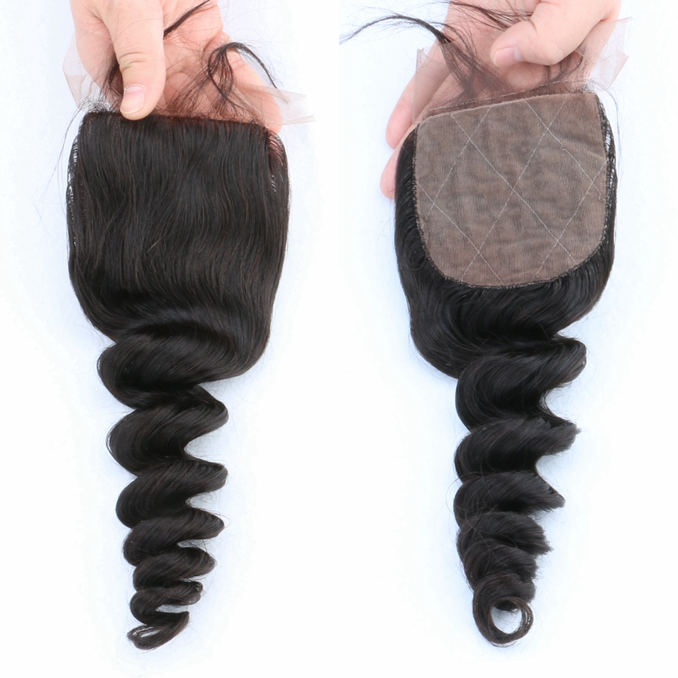 ФОТО 7A Grade Brazilian Loose Wave Silk Base Closure With Baby Hair Bleached Knots Human Hair Free/Middle/3 Part Silk Lace Closure