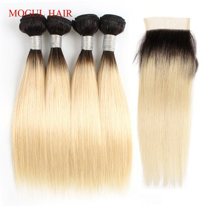 Image 2 - MOGUL cheveux 50 g/pc 4/6 Bundle avec fermeture miel blond faisceaux avec fermeture T 1B 27 brésilien droit Ombre Remy cheveux humains