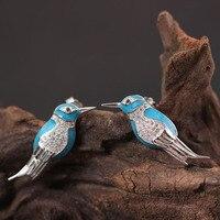 Blau Emaille Echt Silber 925 Niedlichen Vogel Bolzenohrrings Frauen Kreative Persönlichkeit 925 Sterling Silber Schmuck Original Design Geschenke