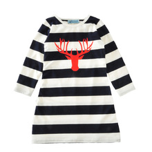 Red Moose Striped Christmas Family Matching Outfits Mother Daughter Long Sleeve Dresses