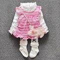 Lolita gola de renda das meninas do bebê vestido de aniversário 1 anos 2 pcs bebê vestido de partido das meninas voar manga tarja infantil vestido crianças roupas