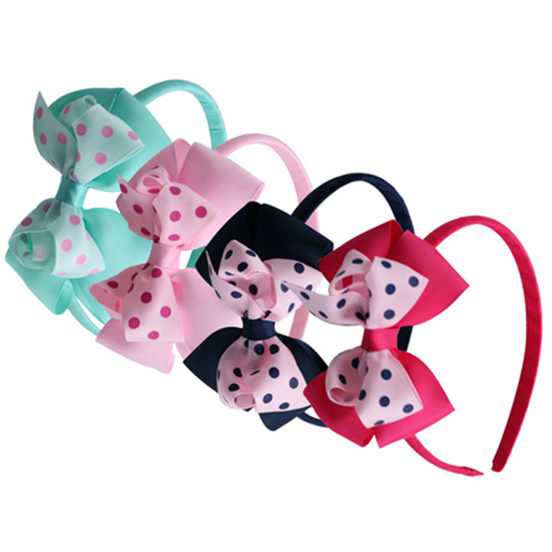 1pcs Rainbow Ribbon Bows With Plastic Hairbands Fashion Headbands For Children Boutique Kids Hair Accessories headwraps