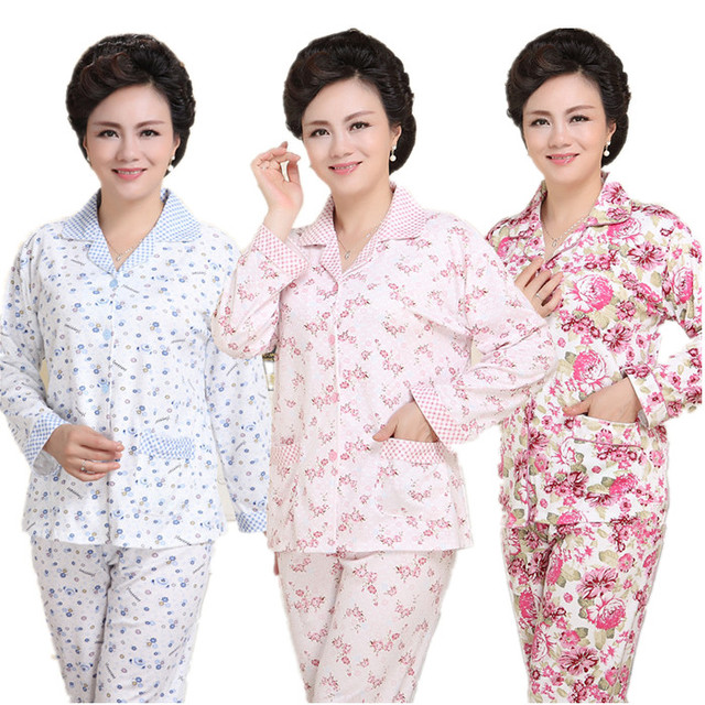 Best gift for mom mid-age women pajama lovely leisure suits 100% cotton sleepwear women cartoon long-sleeve floral pajamas XXXL