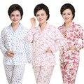 O melhor presente para a mãe mid-idade mulheres pijama linda ternos de lazer 100% algodão sleepwear mulheres dos desenhos animados da longo-luva pijama florais XXXL