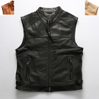 Men's High Quality Cowhide Vest Vintage Classic Motorcycle Biker Sleeveless Jacket Genuine Leather Male Vest DHL Free Shipping