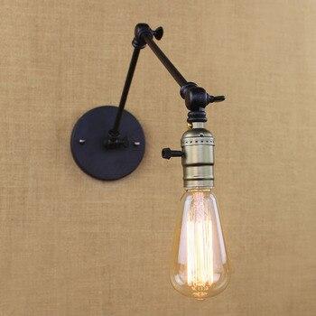 Industrie retro vintage schwarz einstellen eisen kopf swing arm wandleuchten e27 lichter wandleuchte für nacht schlafzimmer flur leuchte