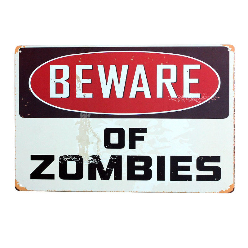 Pas på Zombies Retro Metal Tin Skilte Vintage Wall Plakat Maleri Garage Bar Pub Boligindretning Art Craft Mix Bestil 20x30cm A139