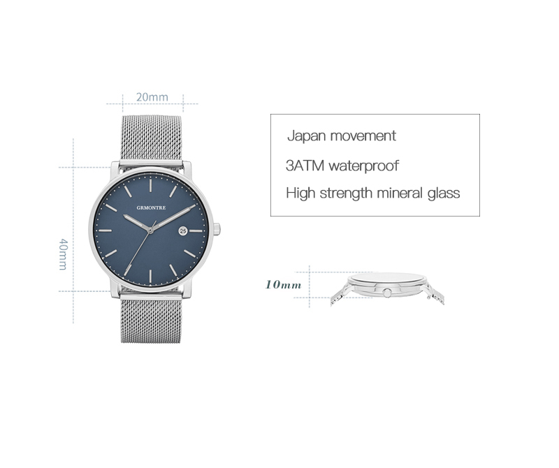 Ultra Thin Fashion Stainless Steel Mesh Band Men's Quartz Wristwatch