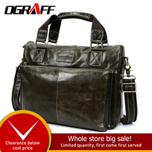 OGRAFF Men Shoulder Bag Men Genuine Leather Handbag Design Briefcase Crossbody Messenger Bags Men Leather Laptop Tote Travel Bag все цены