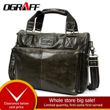 OGRAFF Men Shoulder Bag Men Genuine Leather Handbag Design Briefcase Crossbody Messenger Bags Men Leather Laptop Tote Travel Bag стоимость