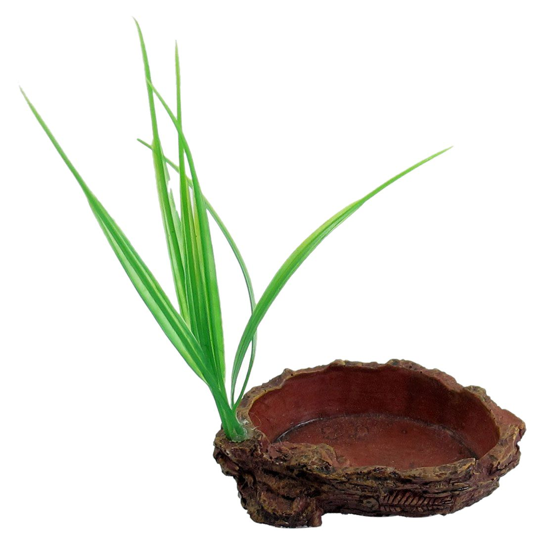-brick Red Oval Shaped Resin Tank Reptiles Dish Bowl With Grass
