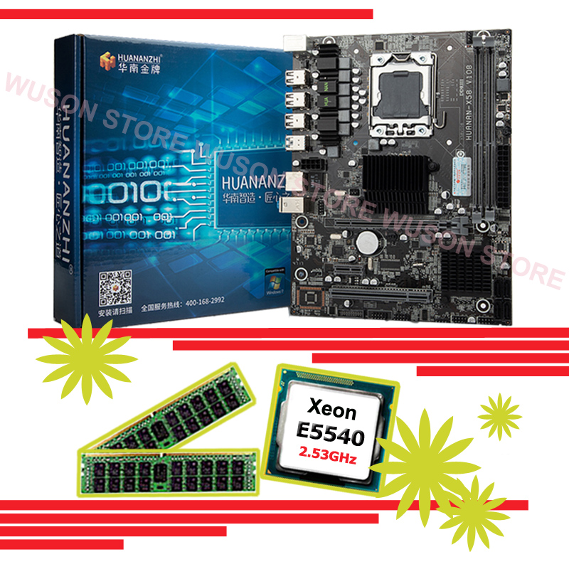 Computer assembly DIY HUANAN ZHI X58 Pro LGA1366 motherboard discount mobo with CPU Intel Xeon E5540