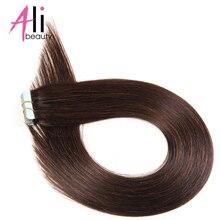 Али салон машины Remy Клейкая лента для холодного наращивания волос индийские прямые волосы 20 шт./компл. темно-коричневый 100% Клейкие ленты в Человеческие волосы парики