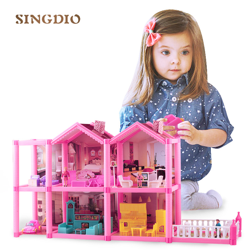 Mini diy pink plastic play game baby dream house dolls toy cute house accessories holiday villas