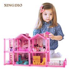 Mini diy pink plastic play game baby dream house dolls toy cute house accessories holiday villas toy for living room(China)