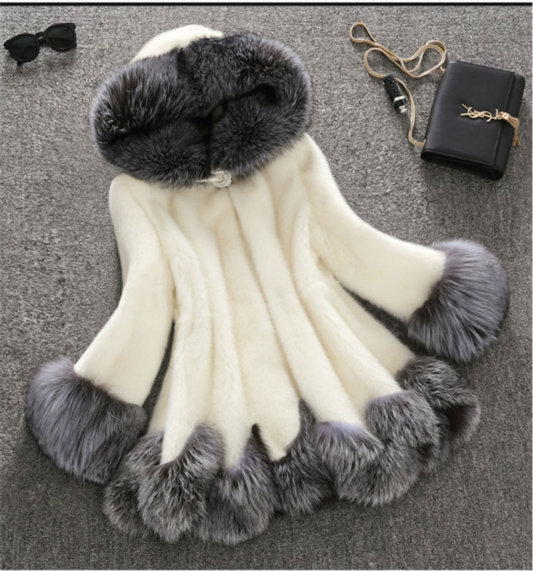 Vagary New Fashion Women's High-end Luxury Faux Fur Coat Rabbit Fur Jacket Coat Medium-Long Coat With Hood Plus Size