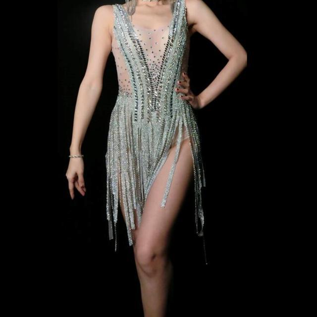 Sparkly Silver Rhinestones Fringes Dress Women Birthday Celebrate Bodysuit Costume Tassel Bodysuit Performance Evening Wear