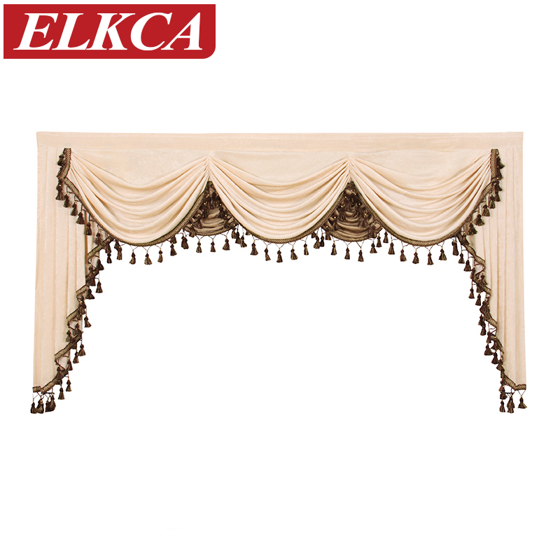 Thick Chenille Curtains Valances for Living Room European Luxury Valances for Bedroom Curtain Pelmet Swag Valances(Beige/Coffee)