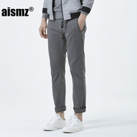 Aismz New Arrival Mens Casual Pant High Quality Cotton Fabric Skinny Slim Fit Cutting Pant Black