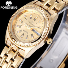 FORSINING 2016 Fashion Casual Brand Ladies Watch Roman Numerals Design Gold Band Quartz Watches Gold Dial relogio feminino Q908