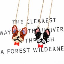 FAIRYWOO Cute Dog Pendant Necklace Women Jewelry Imported Glass Beads Long Necklace Handmade Jewellery Girl Birthday Gift Choker 2019 explosion models unicorn glass necklace handmade anime cute tianma pendant long necklace birthday gift