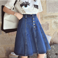 Hot New Vintage Plissado Senhoras Saia Longa Saia de Cintura Alta jeans Fino Feminino Retro Saia Na Altura Do Joelho Frete grátis Y0719-32D