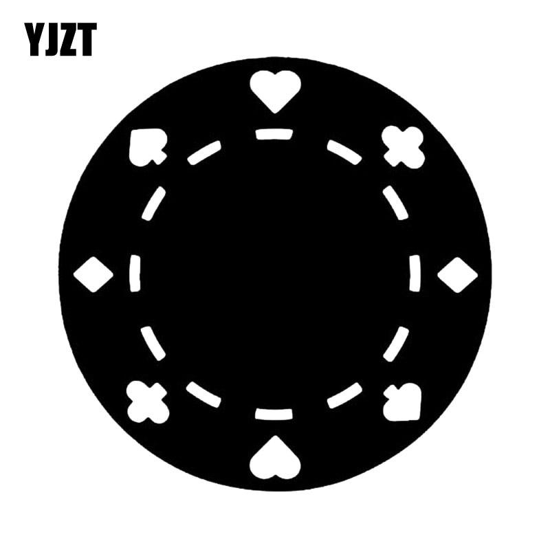 YJZT 14.4*14.4CM Poker Game Chip Casino Graphic Car Sticker Vinyl High Quality Decorative Decal C12-0053