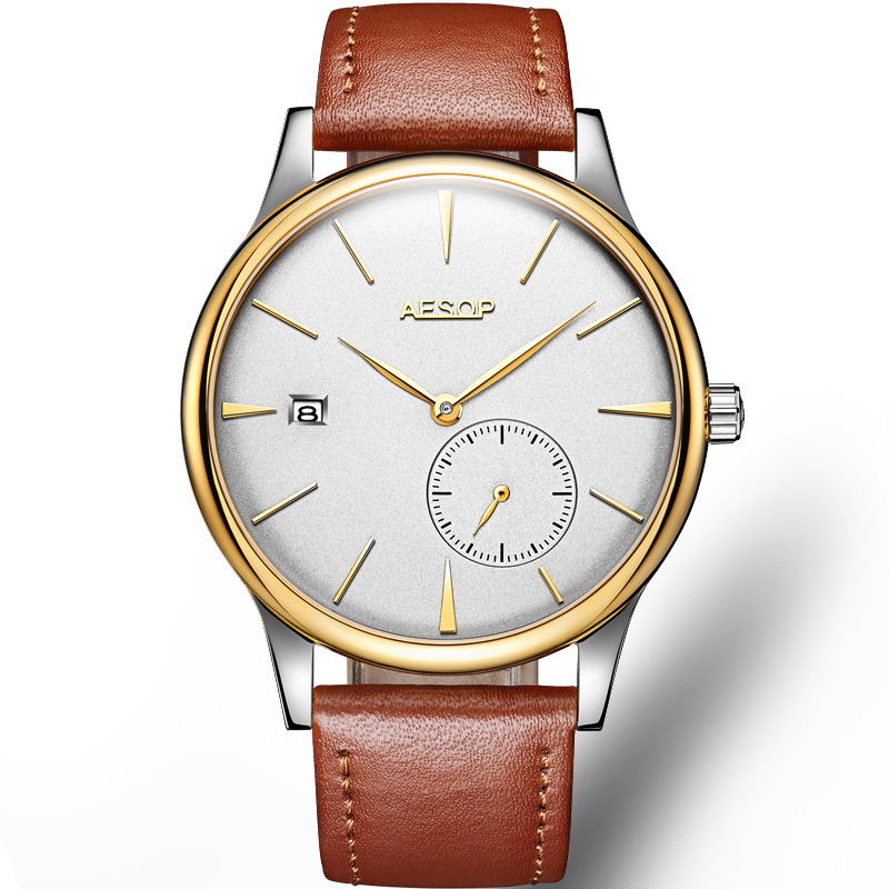 Aesop Clássico Relógio Mecânico Masculino Data Calendário Ultra Fino 8.5mm Luxo Moda Couro Genuíno Automático