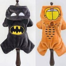 Натуральная 2017 зимняя теплая одежда для собак с рисунком Бэтмена и Гарфилда, пальто для собак с капюшоном, толстовки с капюшоном для щенков, куртки для чихуахуа