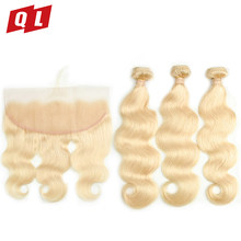 QLOVE HAIR Brazilian Body Wave 3 Hair Bundles With 13*4 Lace Frontal #613 Blonde Color Remy Hair 100% Human Hair Extensions(China)