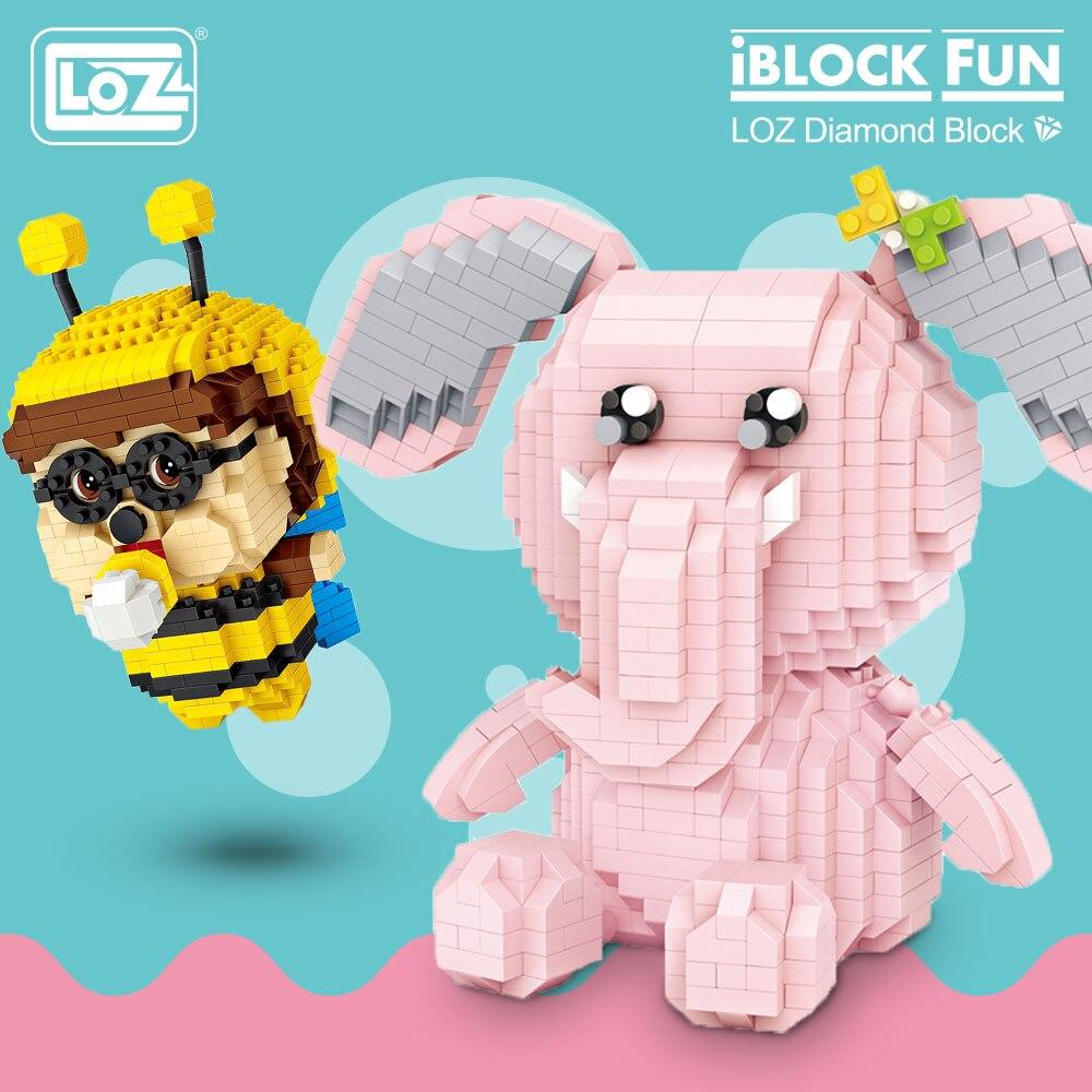 LOZ Diamond Blocks Bee Pink Elephant Cartoon Animal Model Micro Building Blocks Educational Gifts DIY Bricks Toys For Children