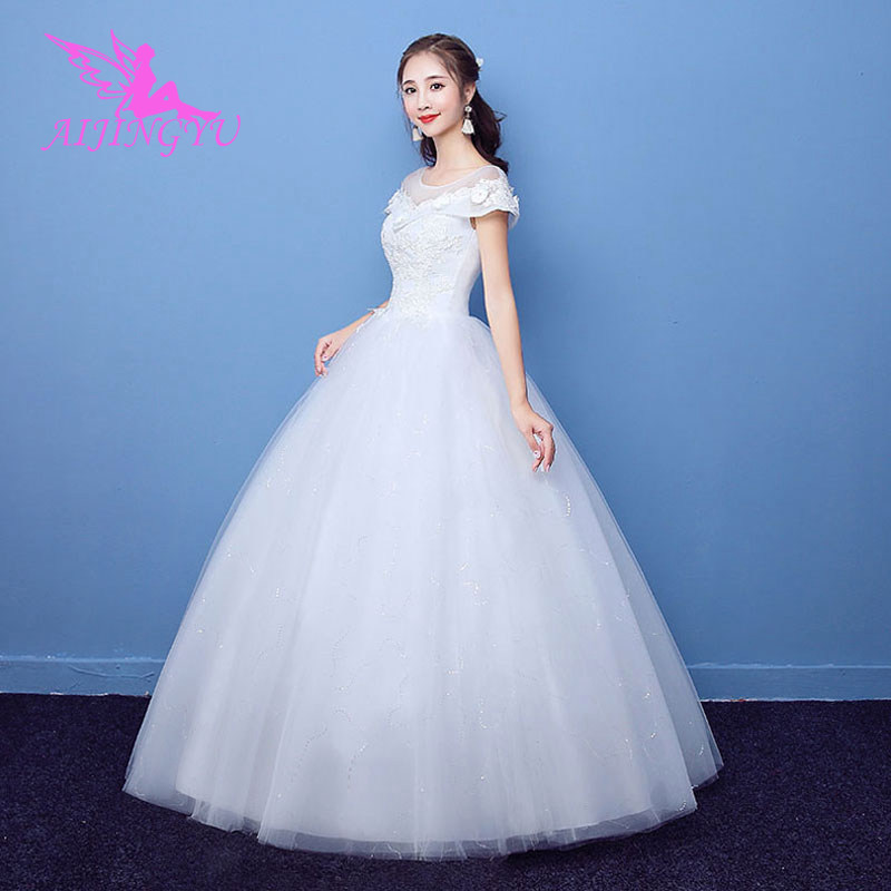 AIJINGYU 2018 Plus Size Free Shipping New Hot Selling Cheap Ball Gown Lace Up Back Formal Bride Dresses Wedding Dress WK725
