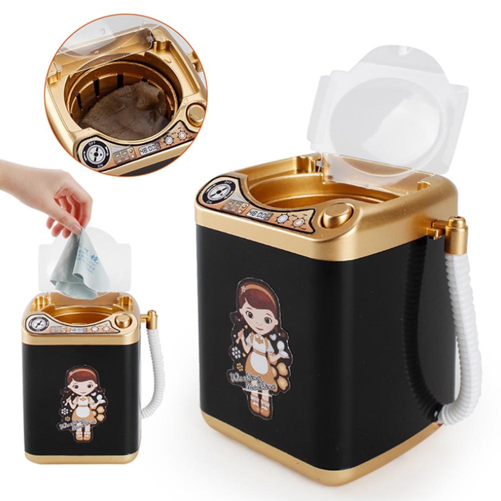 Children Play Pretend Toy Simulation Washing Machine Toy Electric Mini Makeup Brush Cleaner Powder Puff Washing Dehydrator
