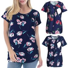 Women's Maternity Cloth ShortSleeve Ruffles Floral Breastfeeding Pregnant T-shirt Nursing Top ropa mujer Maternity Clothing C613(China)