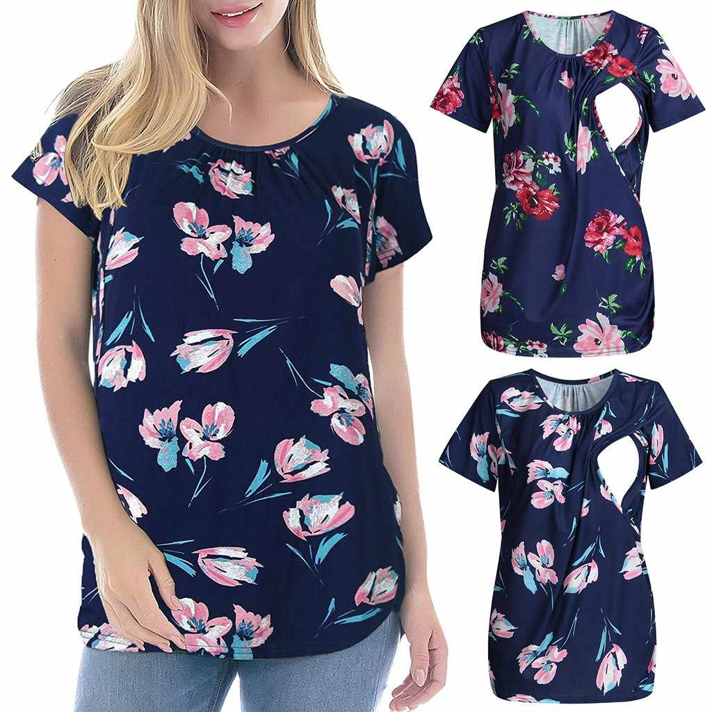 Women's Maternity Cloth ShortSleeve Ruffles Floral Breastfeeding Pregnant T-shirt Nursing Top ropa mujer Maternity Clothing C613